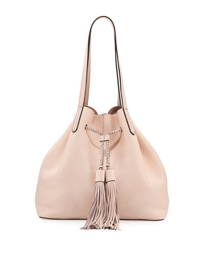 Pebbled Drawstring Tote Bag, Blush