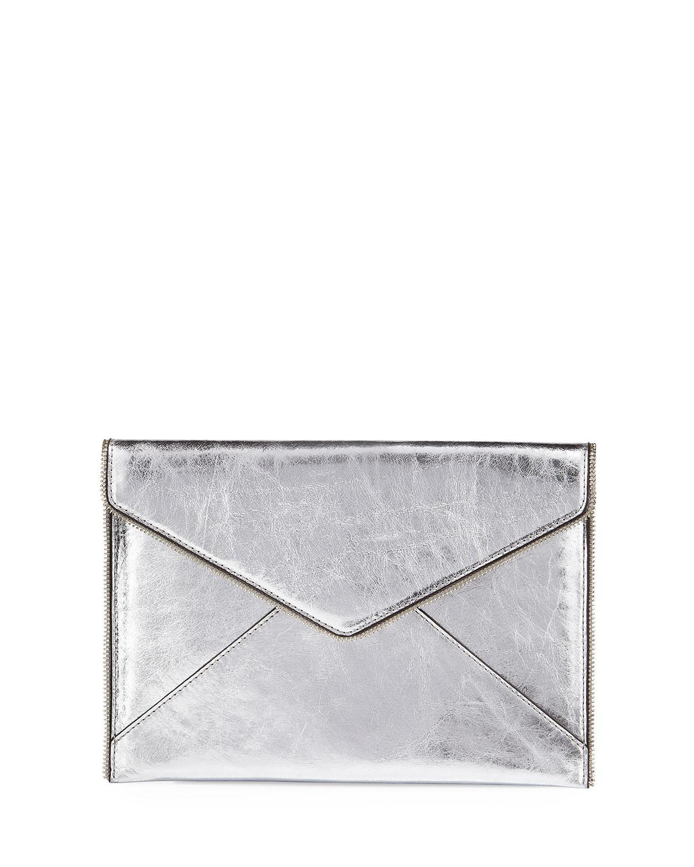 Leo Metallic Envelope Clutch Bag, Silver