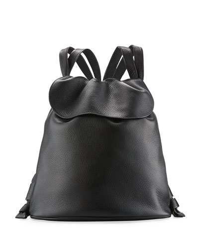 Knapsack Tumbled Leather Flap-Top Bag, Black