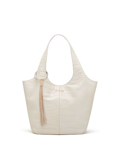 Finley Small Crocodile-Embossed Shopper Bag, Beige
