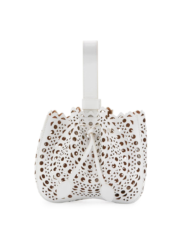 Lux Laser Cut Bucket Bag, White