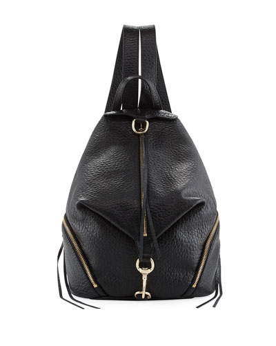 Julian Large Leather Backpack, Black