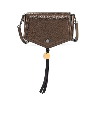 Arrow Metallic Leather Crossbody Bag, Brown