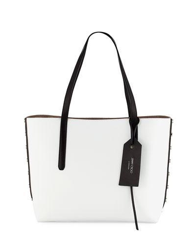 Twist East-West Stud Tote Bag, Black/White