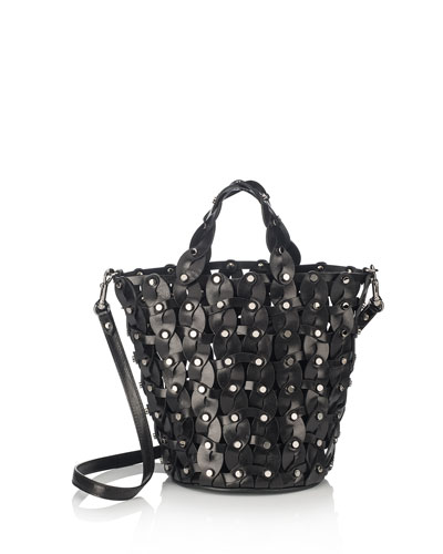 Maxine Woven Studded Tote Bag, Black