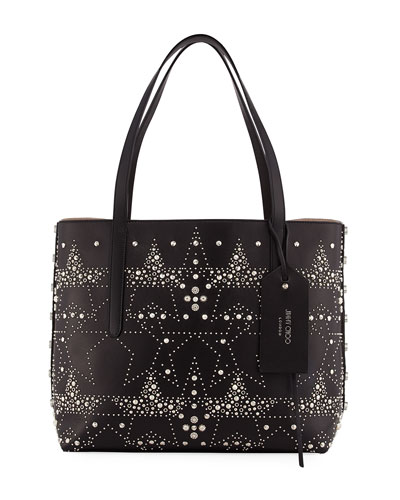 Twist East-West Star Stud Tote Bag, Black