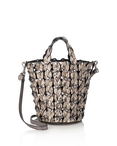 Maxine Woven Snakeskin Tote Bag, Neutral Pattern