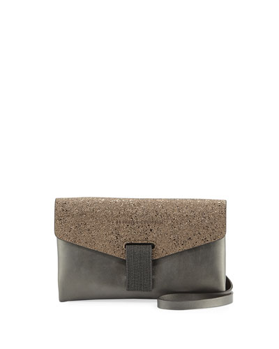 Flap Tab Leather Clutch Bag