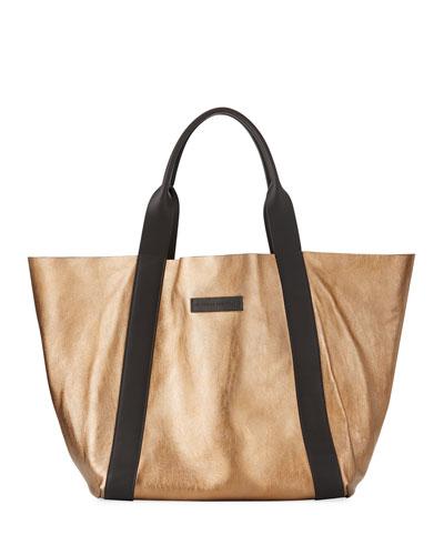 Reversible Metallic Tote Bag, Gold
