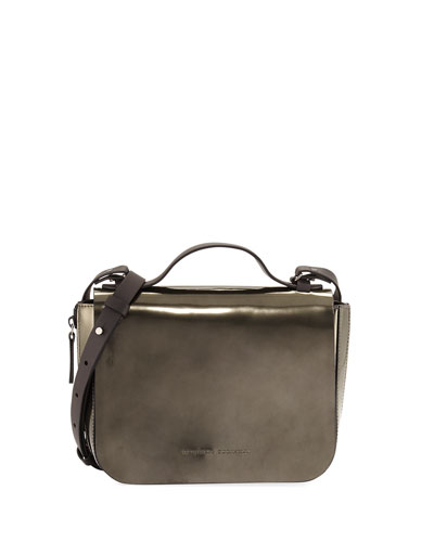 Small Metallic Leather Top-Handle Bag, Green