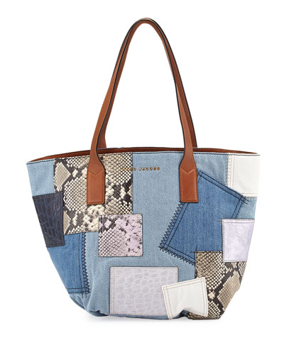 Wingman Denim Patchwork Tote Bag, Multi