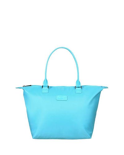 Riviera Blue Lady Plume Tote Bag, Medium
