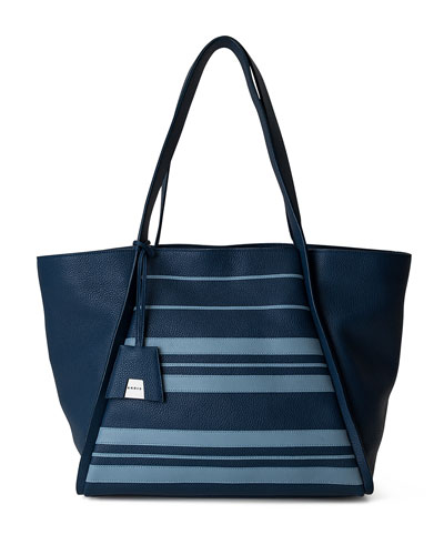 Alex Medium Striped Leather Tote Bag, Blue Pattern