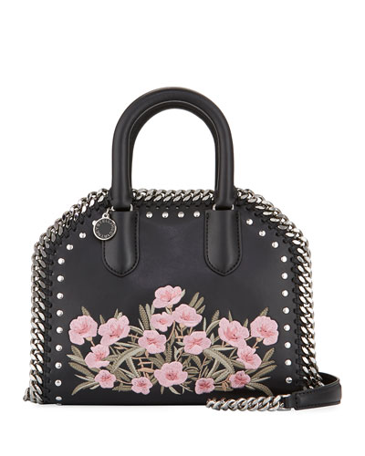 Falabella Embellished Mini Bowler Bag, Black