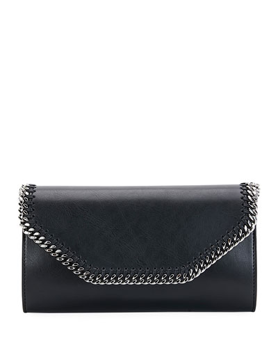 Falabella Eco Alter Faux-Leather Clutch Bag, Black