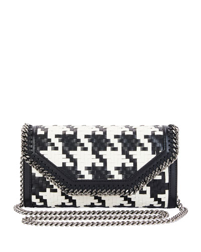 Falabella Dogtooth Eco Weave Clutch Bag, Black/White