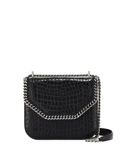 Falabella Large Crocodile-Embossed Box Shoulder Bag