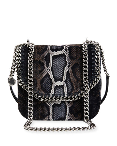 Falabella Snake-Print Velvet Shoulder Bag, Brown