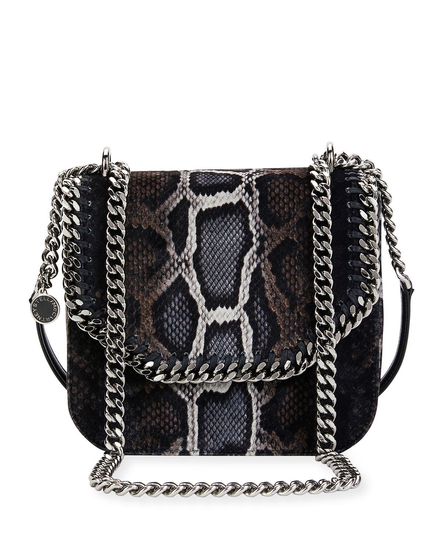 Falabella Snake-Print Velvet Shoulder Bag, Brown