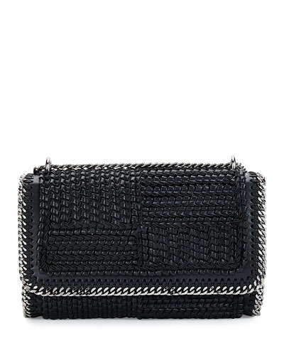 Falabella Eco Woven Patchwork Shoulder Bag, Black