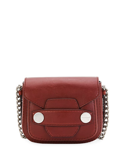 Popper Medium Faux-Leather Crossbody Bag, Brick