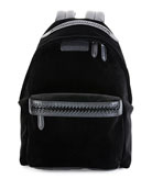 Falabella Go Medium Velvet Backpack, Black