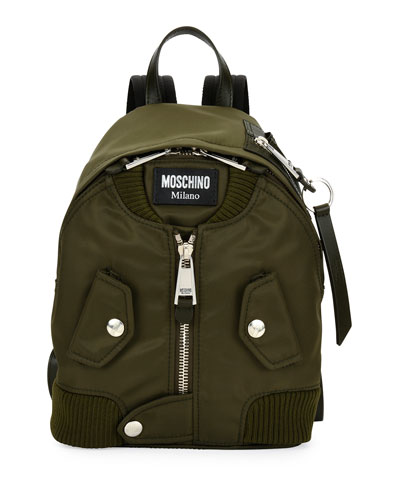 Biker Fabric Zip Backpack, Dark Green