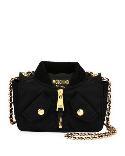 Biker Woven Chain Shoulder Bag, Black