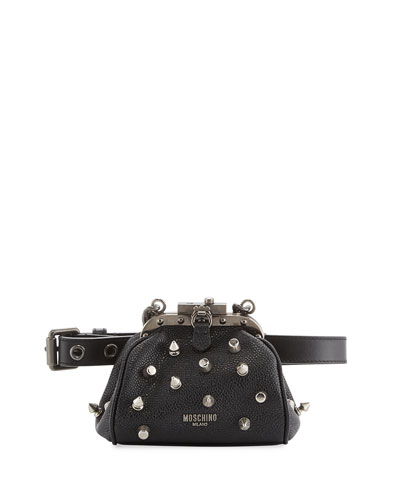 Pebbled Spike Chain Belt Bag