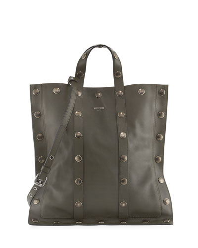 Large Snap Faux-Leather Tote Bag