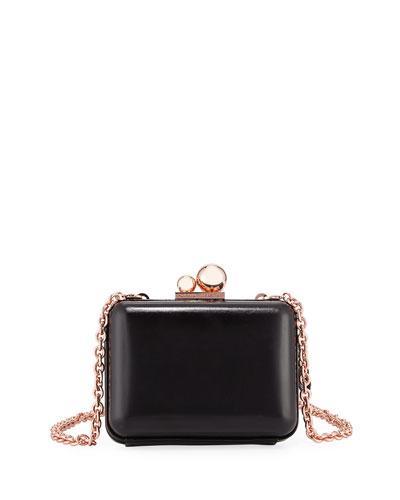 Vivi Butterfly Leather Box Clutch, Black/Multi, Black Pattern