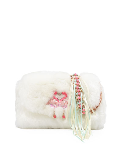 Bisou Flamingo Faux-Fur Shoulder Bag