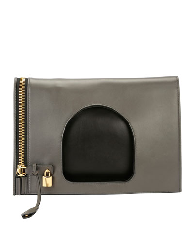 Alix Ombré Fold-Over Bag, Light Gray