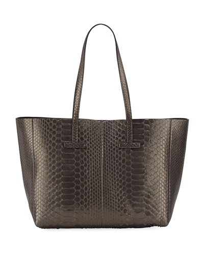 Small Metallic Python T Tote Bag, Dark Gray