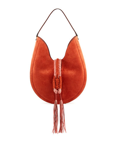 Ghianda Large Woven Suede Calfskin Hobo Bag