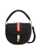 Ghianda Pebbled Stitched Top-Handle Saddle Bag