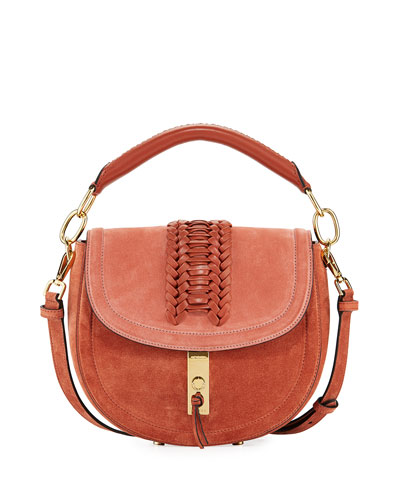 Ghianda Suede Top-Handle Saddle Bag