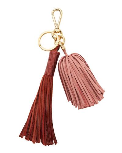 Ghianda Suede Tassel Bag Charm/Keyfob, Rust