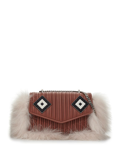 Ivy Mask Fur-Trim Shoulder Bag, Light Pink