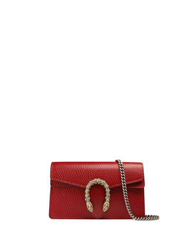 Dionysus Leather Super Mini Bag, Red