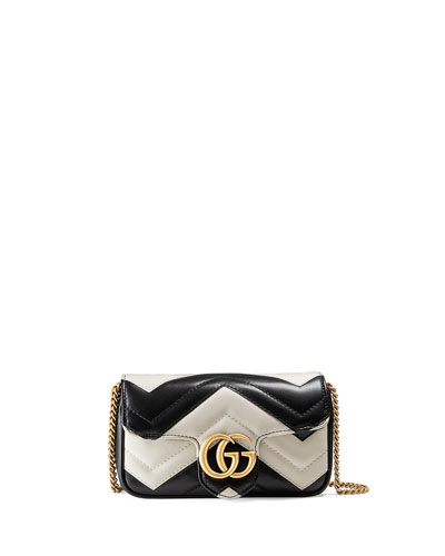 GG Marmont Matelassé Leather Super Mini Bag, Black/White