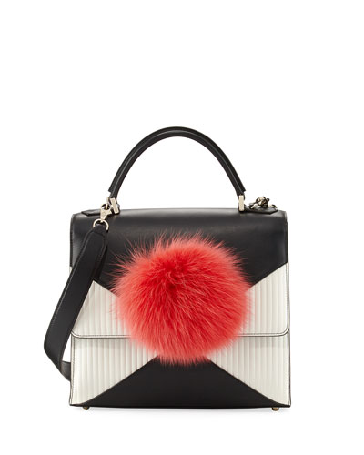 Alex Bunny Pleated Leather Satchel Bag, Black/Red