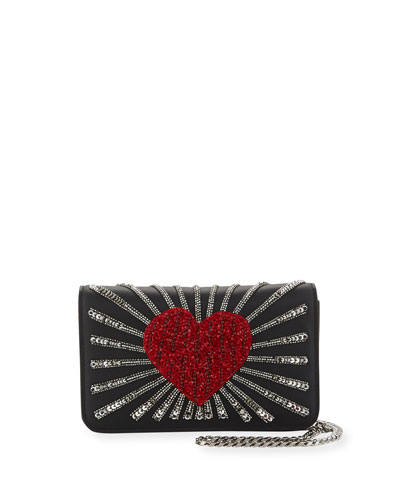Ginny Heart Leather Shoulder Bag, Black
