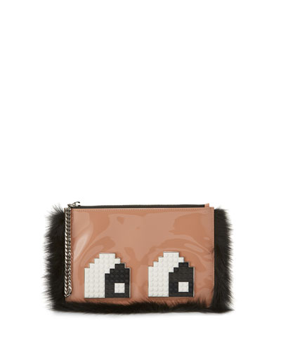 Envelope Eyes Leather Clutch Bag, Light Pink