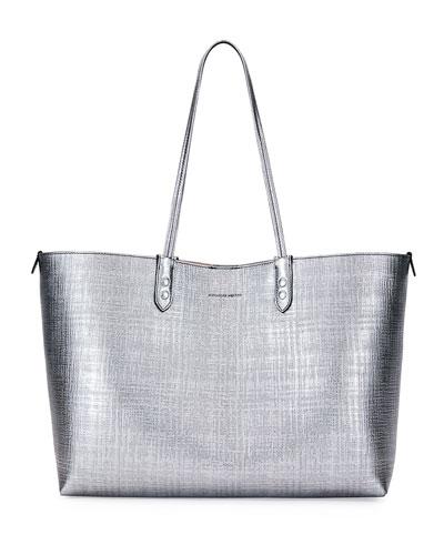Lino Medium Leather Tote Bag, Gray Metallic