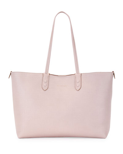 Lino Small Embossed Leather Tote Bag, Nude
