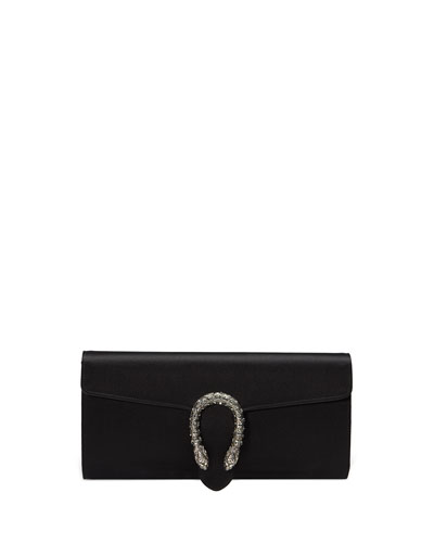 Dionysus Small Satin Clutch Bag, Black