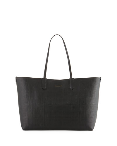 Lino Medium Embossed Leather Tote Bag, Black