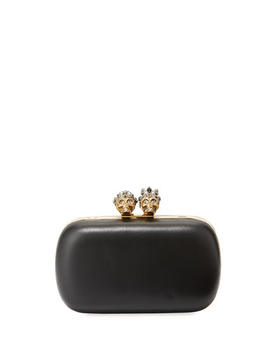Queen & King Skull Leather Box Clutch Bag