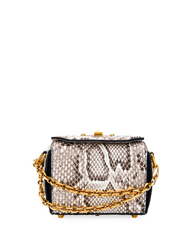 Box 16 Matte Rock Python Satchel Bag, Snake